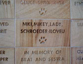 Close-up picture of a donor recognition tile at Rancho Coastal Humane Society
